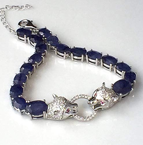 Genuine Deep Blue Nigeria SAPPHIRE (2.6ct. and 1.1ct.), Madagascar RUBY, and Cubic Zirconia, 14K White Gold Vermeil and 925 Sterling Silver, Tiger Bracelet (18-21.5cm Long) Fine ()