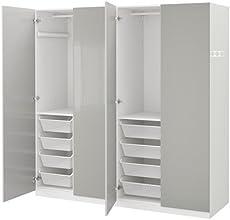 Ikea Wardrobe White Fardal High Gloss Light Gray 2204 232911 1434