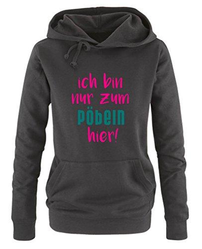 longues suis poche pull turquoise femme juste manches kangourou Sweat comédie arnaquer imprimé ici rose à Chemises pour capuche je de noir BFwq7qtZ