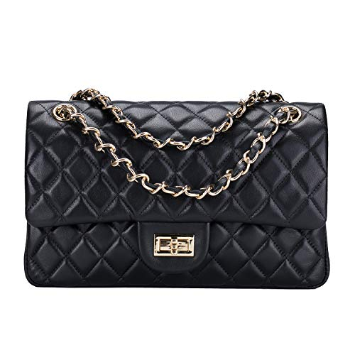 (LUCKYSGY Women's Shoulder Bag Quilted Chain Handbag Genuine Leather Purse (Large, Black))