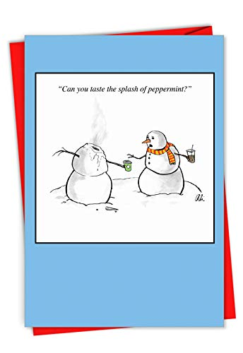 (Splash of Peppermint' Funny Christmas Greeting Card Showing a head-melted snowman, with Envelope. C7077XSG)