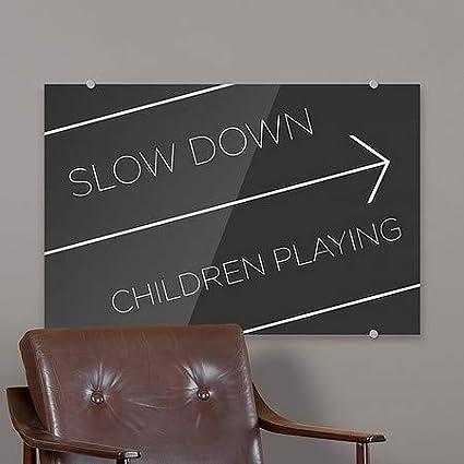 Slow Down Children Playing 18x12 CGSignLab 5-Pack Basic Black Premium Acrylic Sign