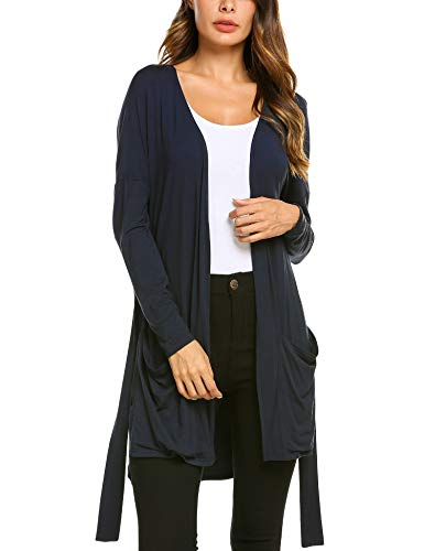 Belted Petite Cardigan - EASTHER Solid Duster Cardigan Women's Open Pockets Lightweight Long Sleeve Dusters for Women,Navy Blue,Small