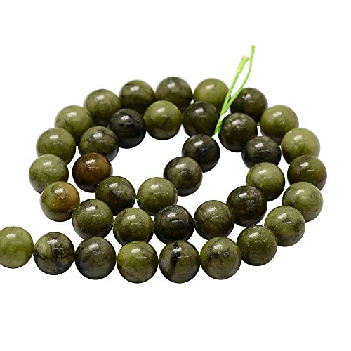 - PH PandaHall 5 Strands 10mm Natural Chinese Jade Gemstone Round Loose Stone Beads for Jewelry Making 15.2
