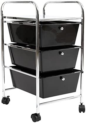 Finnhomy 3 Drawer Rolling Cart Organizer Storage Cart with Drawers Utility Cart for School Office Home Beauty Salon Storage Black