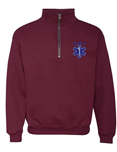 Allntrends Adult Zip Collar Sweatshirt EMT Embroidered Emergency Medical Top (3XL, Maroon)