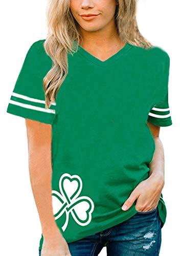 Roshop Women's Shamrock Shenanigans Cute Funny St. Patrick's Day Green Deep V-Neck(Kelly Green, x-Large)]()