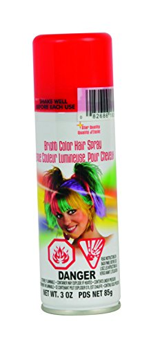 Rubie's Bright Color Hairspray, Red (Temporary Red Hair Dye For Dark Hair)
