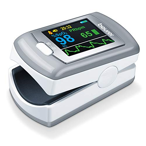 Beurer PO 80 pulsoxymeter, meting van zuurstofverzadiging (SPO2) en hartslag (hartslags), 24 uur continue registratie…