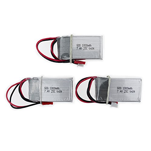3pcs 7.4V 1000mAh Batteries Power Charger Spare Parts for MJX X600 WL V912 V915 RC Quadcopter Drone USB set by Alician
