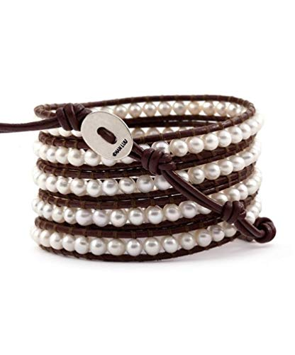 Chan Luu White Pearl Wrap Bracelet on Brown - Leather Luu Chan