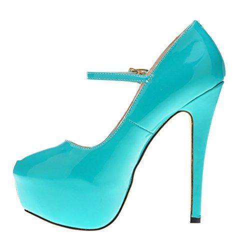 Mujer Zapatos Hooh Boda Correa Tacón Plataforma De Azul Tobillo Hebilla Alto rrR8f