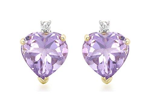 Boucles d'oreilles clous or jaune 9carats Diamant et Améthyste en Forme de Cœur