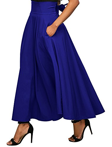 CoutureBridal Women Long Flowy A-Line Front Slit Ankle Length Maxi Casual Skirt with Pockets