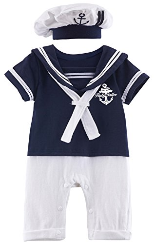 Mombebe Baby Boys' 2 Pieces Sailor Romper Outfit (3-6 Months, Navy)