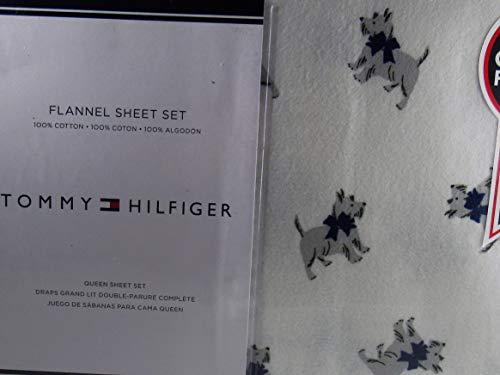 Tommy Hilfiger Scottie Dog Flannel Queen Sheet Set 100% Cotton