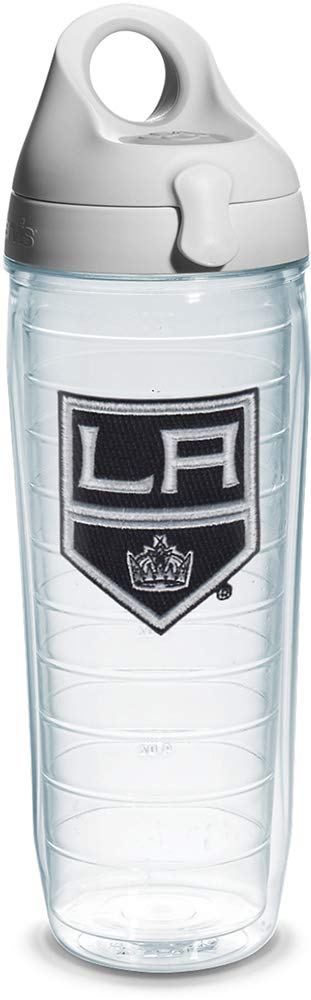 Emblem Clear 24 oz Tervis 1066943NHL Los Angeles Kings Water Bottle with Grey Lid