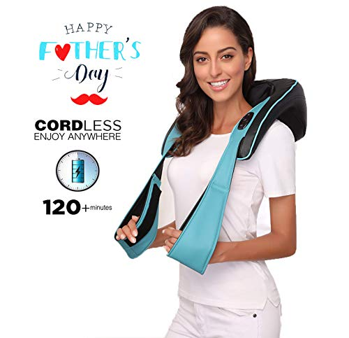 Cordless Shiatsu Back and Neck Massager with Heat for Father's Day Gift- Rechargeable Shoulder Massager by Real-Hand, Hand Free Design Portable Automated Programs Massage -Home, Car, Office ...