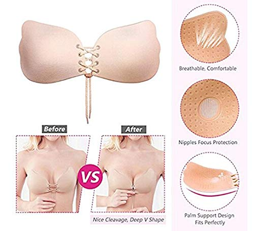 3032ae3fa7579 Lnabni 2PCS Womens Sexy Nubra Strapless Self Adhesive Invisible Bras Push  Up Bra (Beige and Black) (B)  Amazon.co.uk  Clothing
