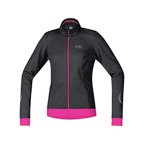 Windstopper Black Jacket (GORE BIKE WEAR Women's Warm Soft Shell Cycling Jacket, GORE WINDSTOPPER,  LADY WS SO Jacket, Size 36, Black/Magenta, JWELEL)