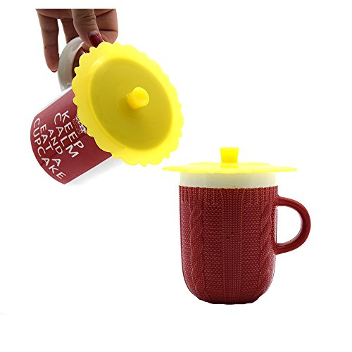 New Wolecok Set of 2 Round Silicone Mug Coffee Cup Cap, S...