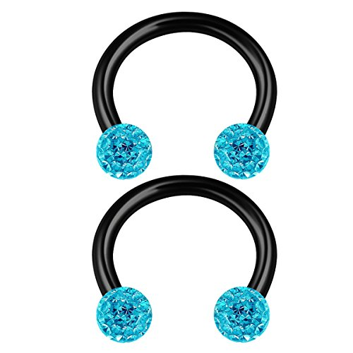 2PCS Steel Horseshoe Circular Barbell 16g 5/16 8mm 3mm Aquamarine Crystal Ball Snake Bite Earrings Nose Piercing Jewelry 2204 -