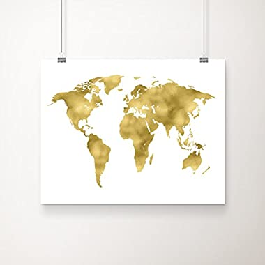 World Map Gold Foil Art Print 11x14 inches