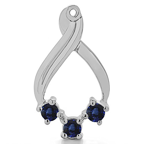 1/2 ct. Sapphire Genuine Sapphire Three Stone Earring Jackets in Sterling Silver (0.52 ct. twt.) by TwoBirch