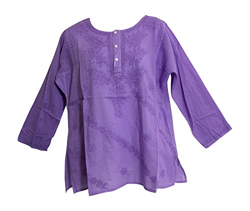 Classic Indian Gauze Cotton Embroidered Plus Long Sleeve Sixties Blouse (Large, Purple)