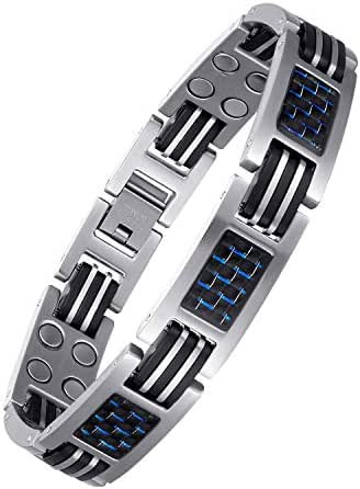 USWEL Titanium Magnetic Bracelet for Men Sports Magnetic Bracelet Relieve pain and tension for High Blood Pressure Arthritis 8.5 INCH with size adjustment tool