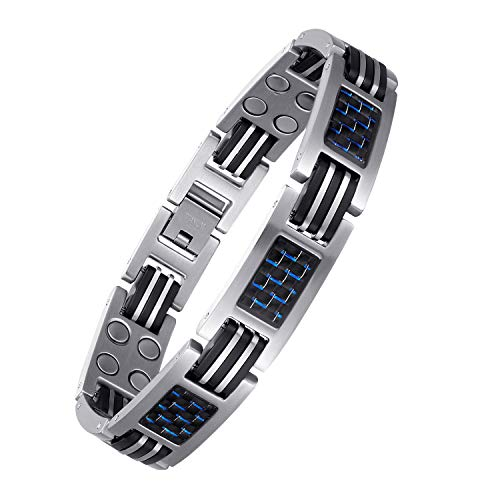 USWEL Carbon Fiber Titanium Bracelet for Men Sports Magnetic Bracelet Pain Relief for High Blood Pressure Arthritis and Carpal Tunnel 8.5