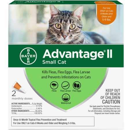 Bayer Animal Health 2 MONTH Advantage II Flea Control Small Cat (for Cats 5-9 lbs.)