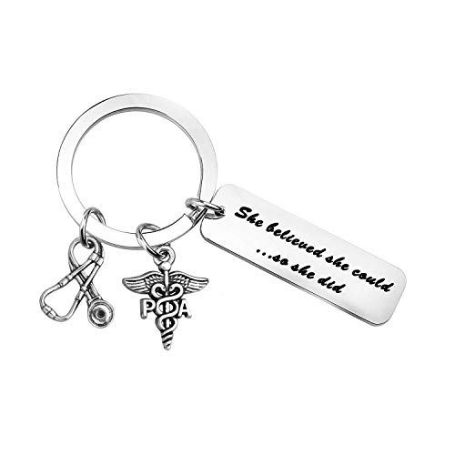 MYOSPARK Physician Assistant Gift She Believed She Could So She Did PA Keychain Medical School Graduation Gift PA Gift (PA Keychain)