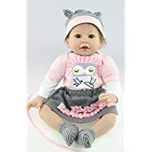 NPK collection Reborn Baby Doll, Vinyl Silicone 22 inch 55 cm Babies Doll, Lifelike express Toys Girl for Children Gift Purple dress Cute little cat