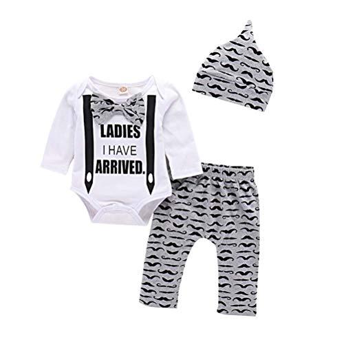 Baby Boys Gentleman 3PCS Clothes Set Bowtie Romper Pants with Hat Winter Autumn Warm Outfits