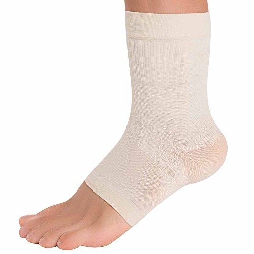 Zensah Ankle Support – Compression Ankle Brace – Great for Running, Soccer, Volleyball, Sports – Ankle Sleeve Helps Sprains, Tendonitis, Pain, Beige, Medium