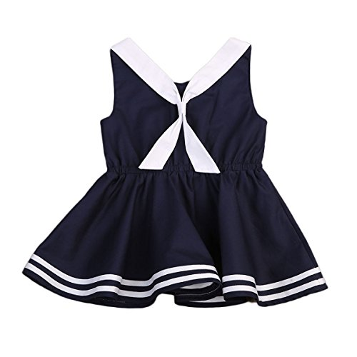 Infant Baby Toddler Girls Bowknot Sailor Stripe Marine Navy Dress Onesie Outfit (0-1Y, Navy (Stripe Sailor Skirt)