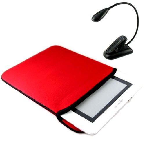 (Black Red) Neoprene Reversible Sleeve Case Cover for Amazon Kindle DX Accessories Gift package + Bonus LED book light