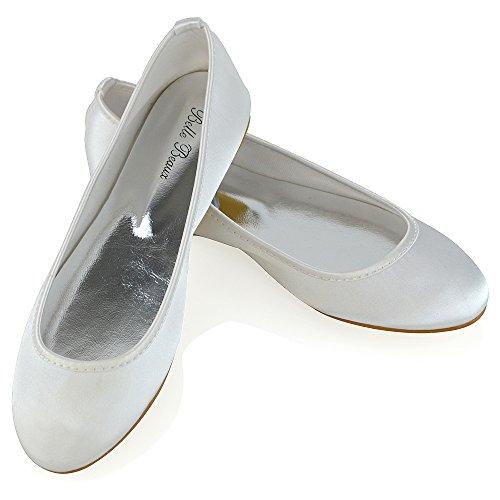 ESSEX GLAM Damen Brautschuhe Flach Hochzeit Blumenmädchen Satin Pumps Geschloessene Zehen Ballerina Weiß Satin