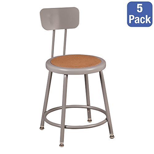 Learniture Steel Lab Stool with Backrest, Adjustable-Height, Gray, NOR-TY-538A-18B-PK (Pack of 5) by Learniture