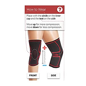 UFlex Athletics Knee Compression Sleeve Support for Running, Jogging, Sports, Joint Pain Relief, Arthritis and Injury Recovery-Single SIZE MEDIUM