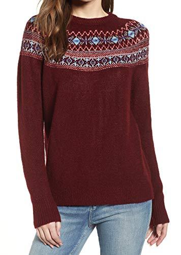 (CottonEmporium Womens Crewneck Fair Isle Sweater Red XL)