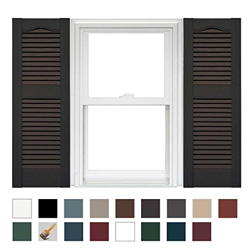 - Mid America Cathedral Open Louver Vinyl Standard Shutter - 1 Pair 14.5 x 67 010 Musket Brown