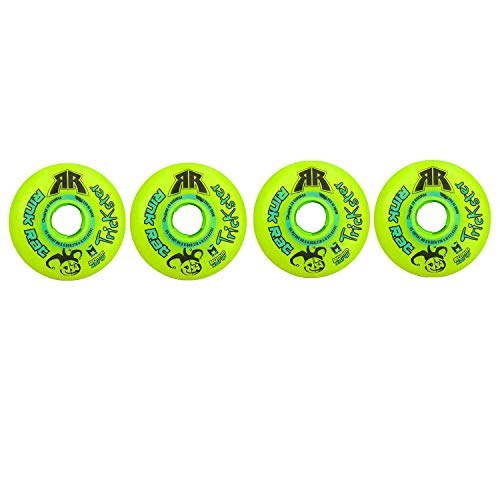 Rink Rat Wheels 80mm 84A Trickster X Grn/Blue 4-Pack Inline Indoor Roller Hockey