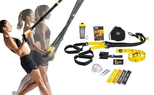 TRX All In One Home Gym Bundle: Includes All-In-One Suspension Trainer, Indoor & Outdoor Anchors, TRX XMount Wall Anchor, 4 Exercise Bands & Shaker Bottle (30 Minute Cardio Workout At Home No Equipment)