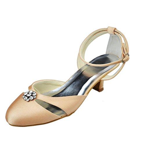 Minishion Wedding Toe Strappy Womens Evening Pumps Heel Party Satin Champagne Rhinestone 5cm Bridal Almond pSprq