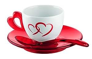 Guzzini Fratelli Love, Juego de 2 tazas café con platos y cucharillas, SAN|Porcelain