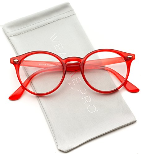 WearMe Pro - Clear Lens Semi Transparent Clear Frame Colorful - Glasses Hipster Red