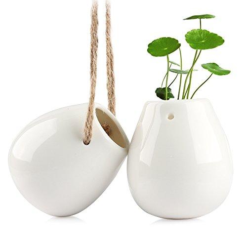 Celestte Hanging Planter, Decorative Ceramic Flower Pot Water Planter Plant Vase, Set of 2 for cheap