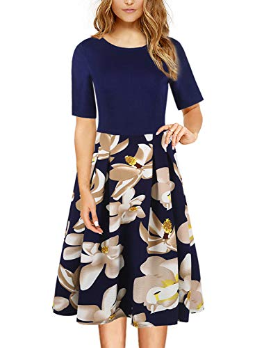 (Casual Work Dress Petite Women's Summer A Line Floral Print Homeyee Formal Wedding Guest Dresses for Juniors and Teen with Pockets 162 (S, Navy Blue))